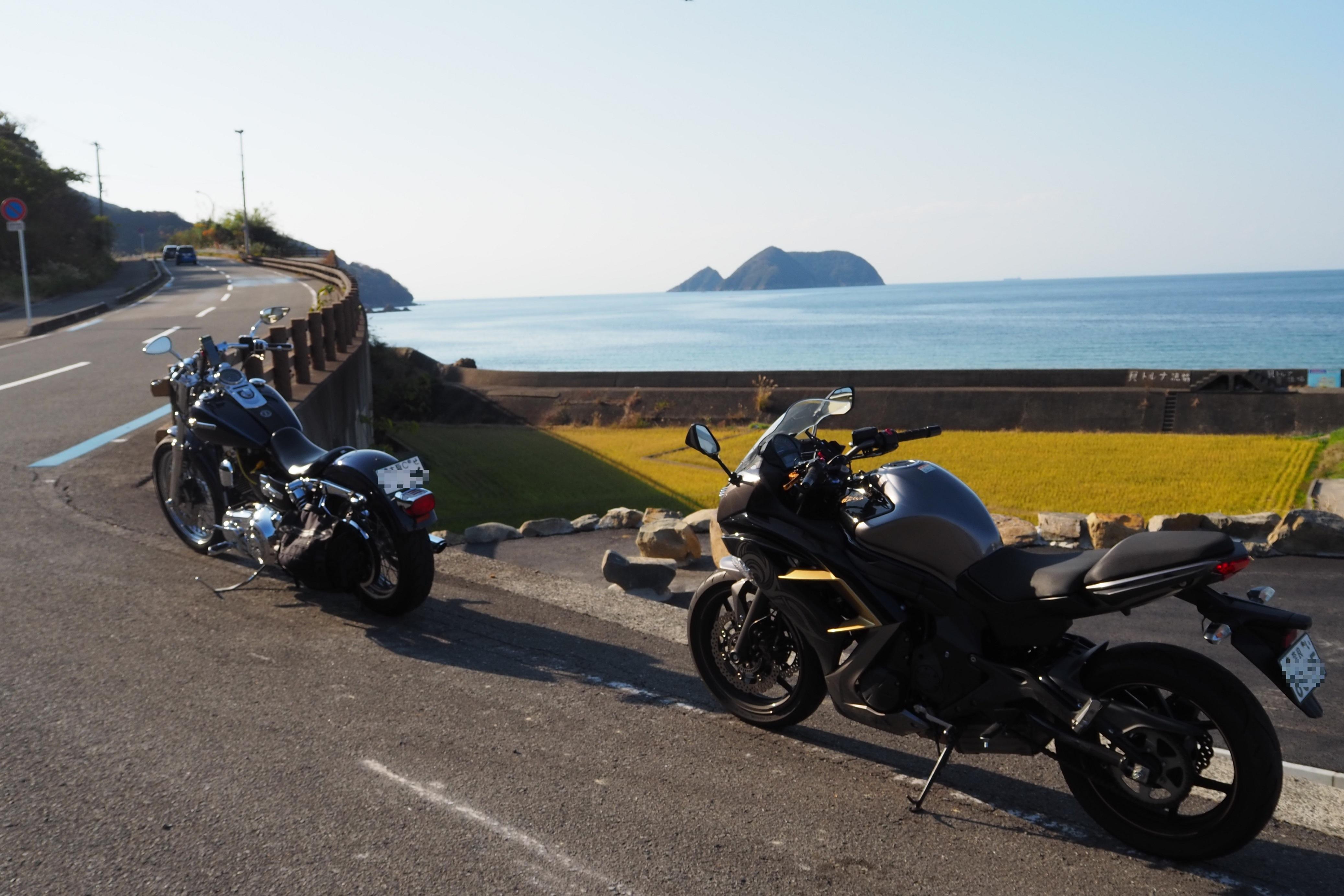ぴーきち&ダイナ 和歌山湯浅ツーリング 白崎海洋公園の道のり 海沿いの道