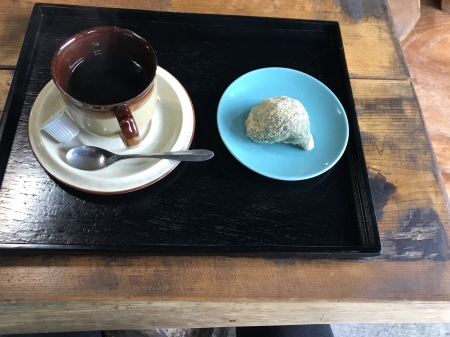 京都ダム巡り ツーリング 北山の里 草もち コーヒーセット