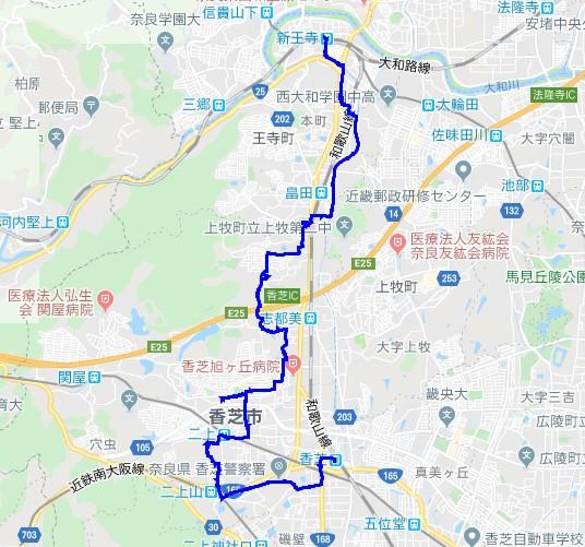 2001-00-奈良盆地一周①-軌跡
