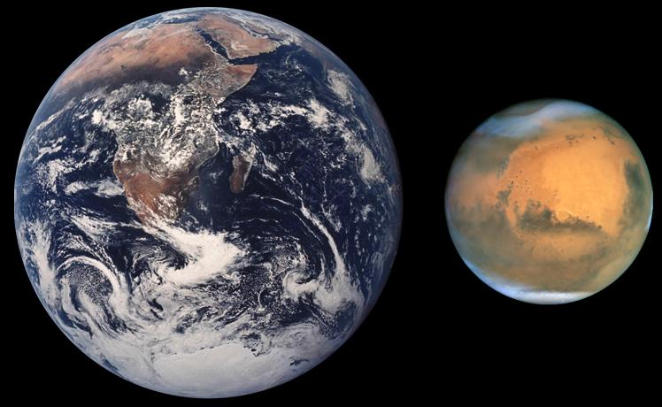 地球と火星の大きさ比較