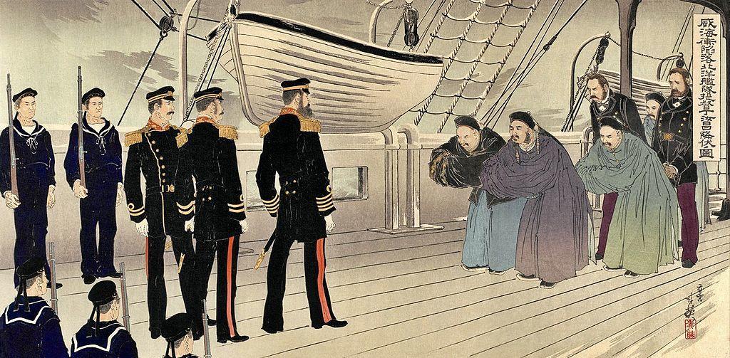 「威海衝陥落北洋艦隊提督丁汝昌降伏ノ図」 右田年英画 1895年(明治28年)