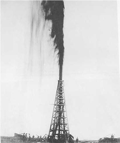 スピンドルトップのルカス1号油井