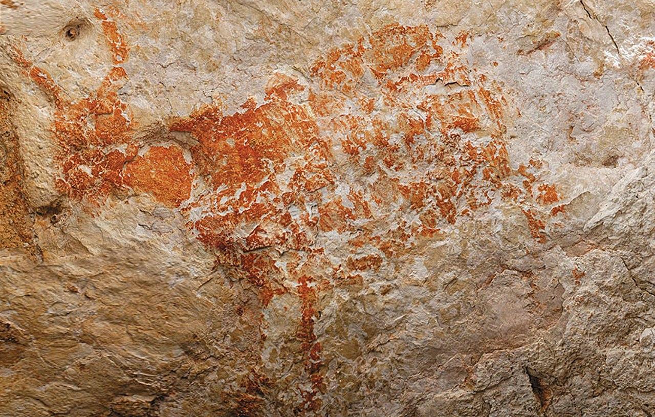 4万年前の洞窟壁画(インドネシア)