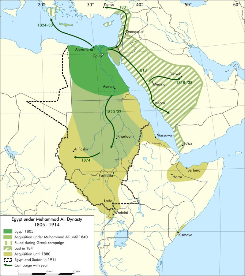 緑と薄緑がムハンマド・アリー朝の版図(黄緑、斜線部分が一時的な占領地)