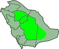 サウジアラビア内のナジュドの位置