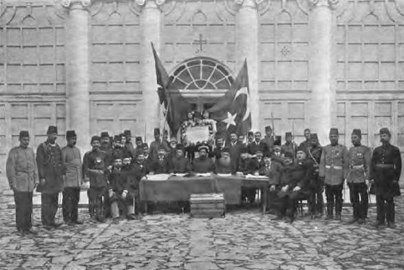 オスマン帝国のミレットの指導者らによる「青年トルコ人革命の宣言」1908年