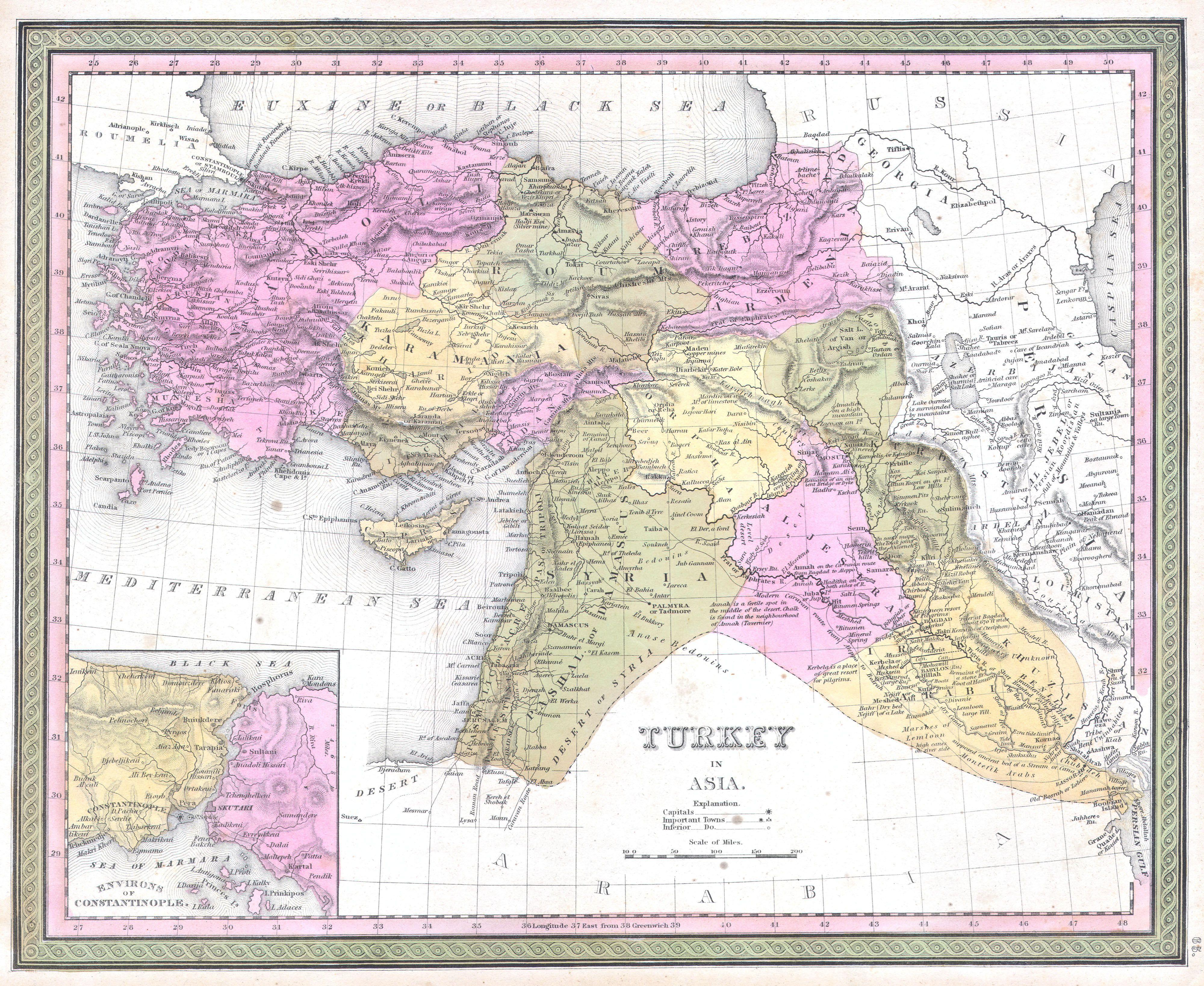 オスマン帝国下の中近東地域 (1849年)