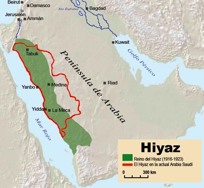 緑色の部分がヒジャーズ王国の領域
