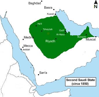 第二次サウード王国の版図