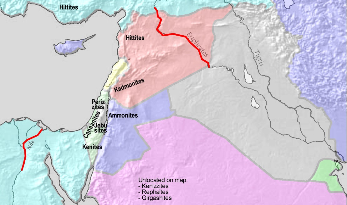 約束の地(境界線を示す赤線の間の地域)