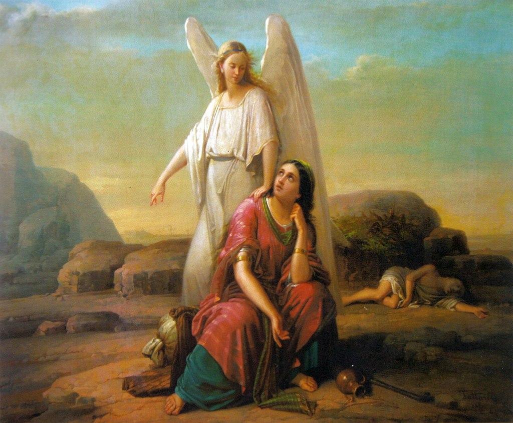 『天使とハガル』 Gheorghe Tattarescu 1870年