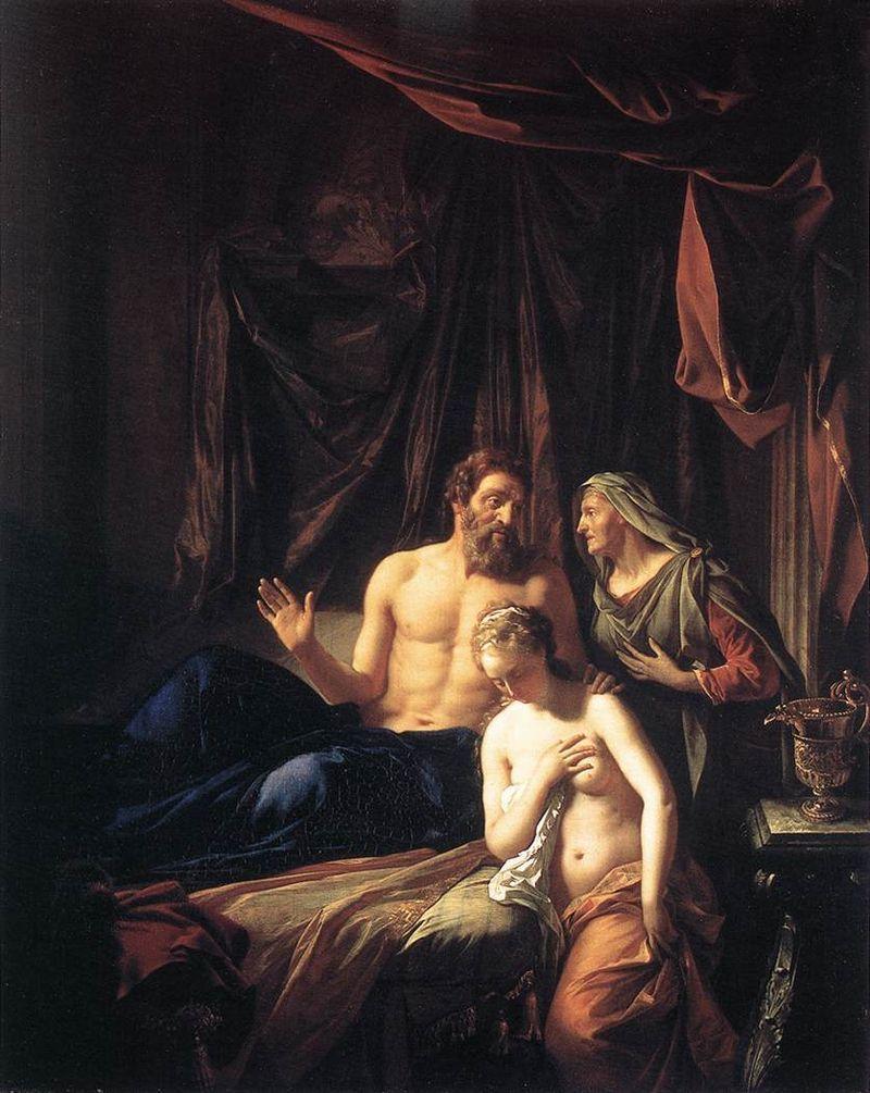ハガルをアブラハムに捧げるサラ