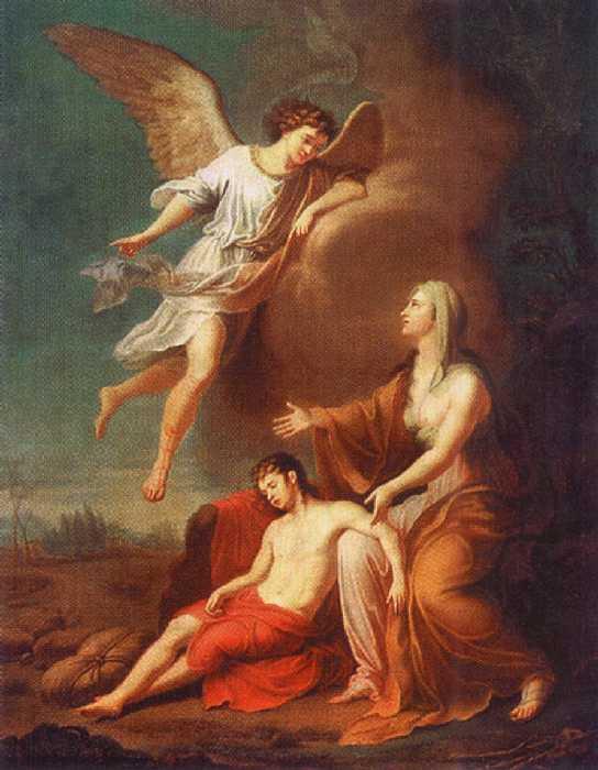 『砂漠のハガルとイシュマエル』 グリゴリー・アグリーウムーブ 1785年
