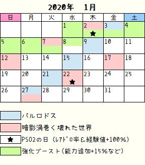 ロドス暗影カレンダー2020年1月