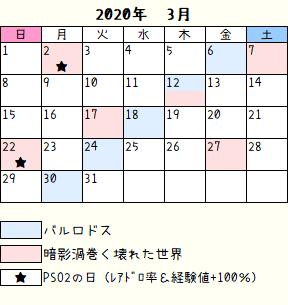 ロドス暗影カレンダー2020年3月