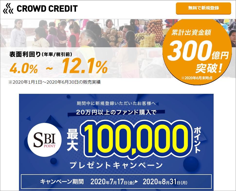 クラウドクレジット累計募集額300億円突破キャッシュバックキャンペーン1