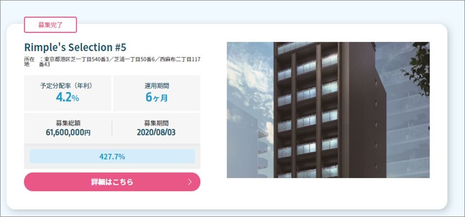 Rimple5号案件に20万円投資2