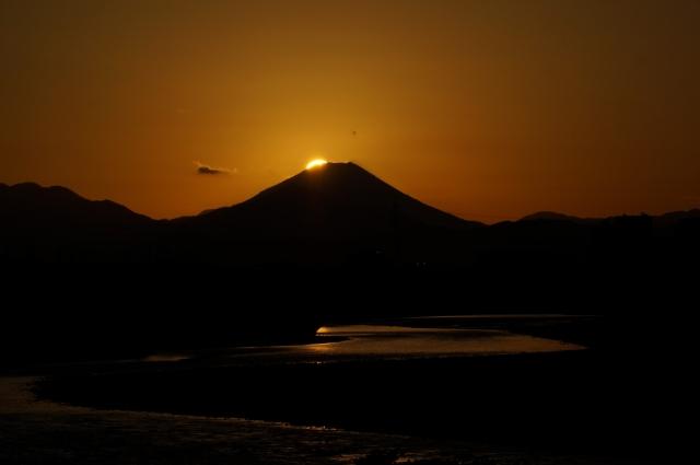 富士山に沈んでいく夕日