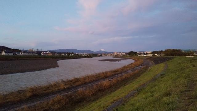 増水気味の浅川 先に白く見えるのは冠雪した富士山