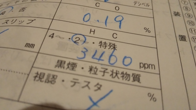 記録簿の記載数値 ミゼットの排ガスの濃度
