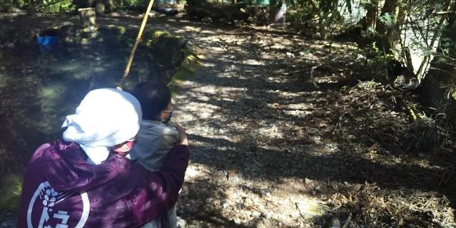 オイラが手を添えて、息子もヤマメを釣り上げる