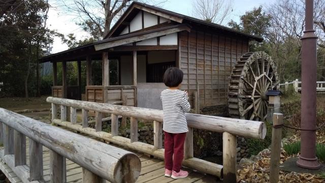 向島用水新水路の水車小屋と娘