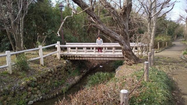 親水路の橋と娘