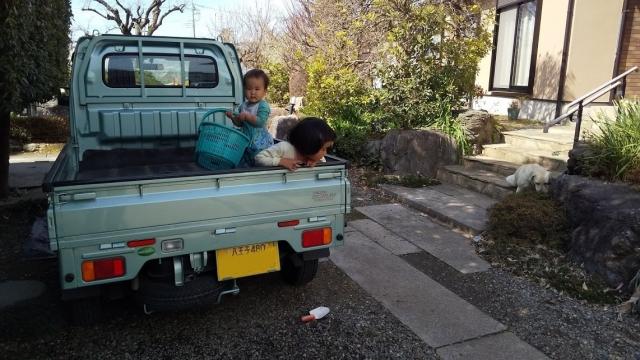 軽トラの荷台は楽しいな!!