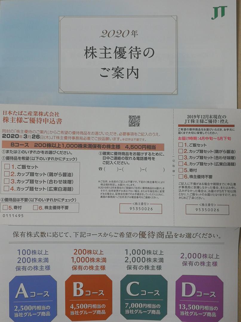 20200229_JT株主優待