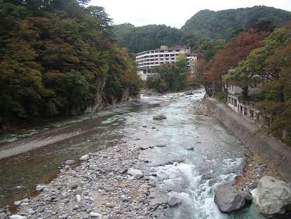 七つ岩つり橋から渓流2