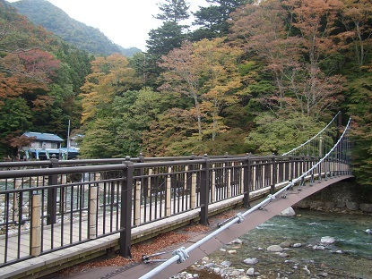 紅のつり橋全景