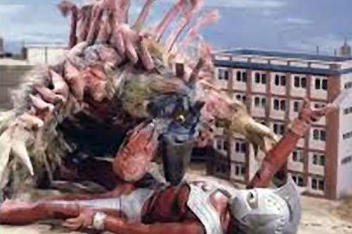 ウルトラマンタロウが怪鳥バードンの嘴に刺されてやられる。