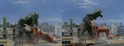 ウルトラマンタロウが怪獣ケムジラの吐く白い糸に苦戦しやられる