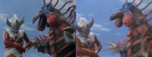 ウルトラマンタロウが怪獣バードンの嘴にめった刺しにやられる。