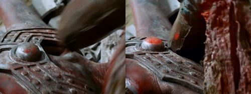ウルトラマンタロウが怪獣バードンの嘴にやられて大ピンチ