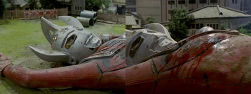 ウルトラマンタロウが怪獣バードンにやられて敗北、絶命