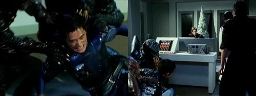 地下ヒーロー、ブルースワットのショウがやられて敵に捕らわれる