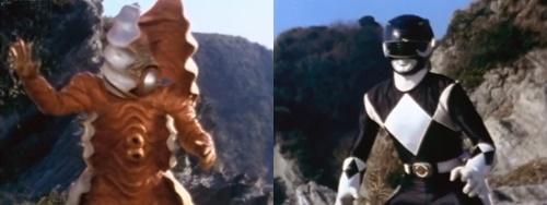 戦隊ヒーロー、ジュウレンジャーのマンモスレンジャーが敵の酸性液にやられる。