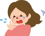クシャミをする女性イラスト