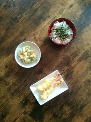 20200116海老の天ぷらと洛市葱と海鮮のかき揚げ