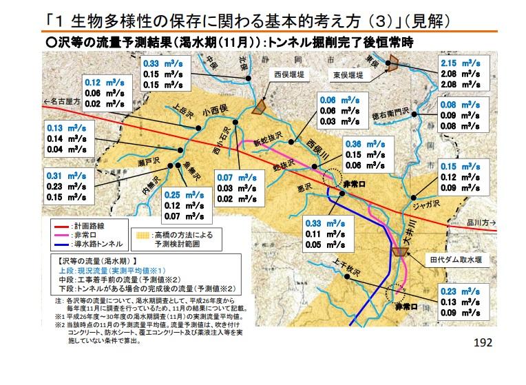 リニア JR東海の再見解その2 P40 沢の枯渇
