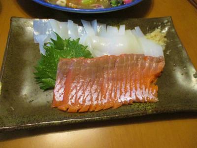 200606サーモンと白イカの刺身