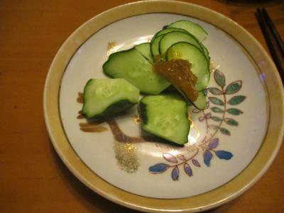 200615梅味噌でキュウリ