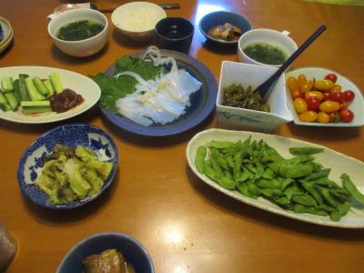 200706自家野菜たっぷりの夕食