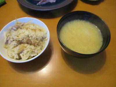 200818鳥ごぼうご飯と飛魚の味噌汁