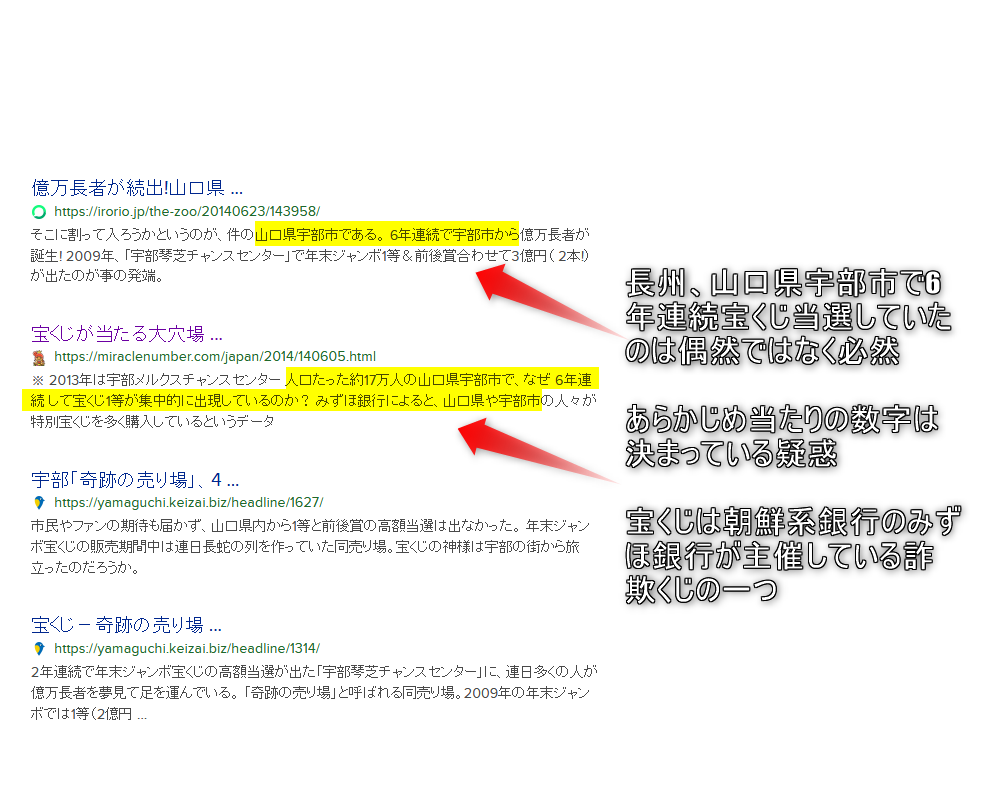 6年連続長州の山口県宇部市で1位の当選が出ていた出来レース詐欺くじ 朝鮮系銀行のみずほ銀行