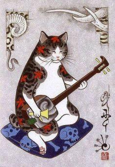 三味線を弾く 猫 イラスト