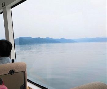 2020 6月 竹生島 船 波